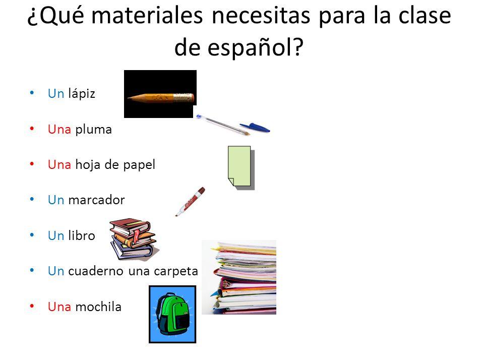 ¿Qué materiales necesitas para la clase de español