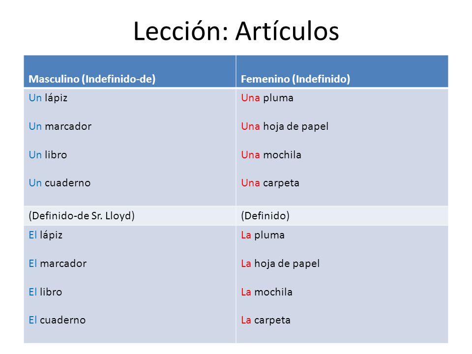 Lección: Artículos Masculino (Indefinido-de) Femenino (Indefinido)