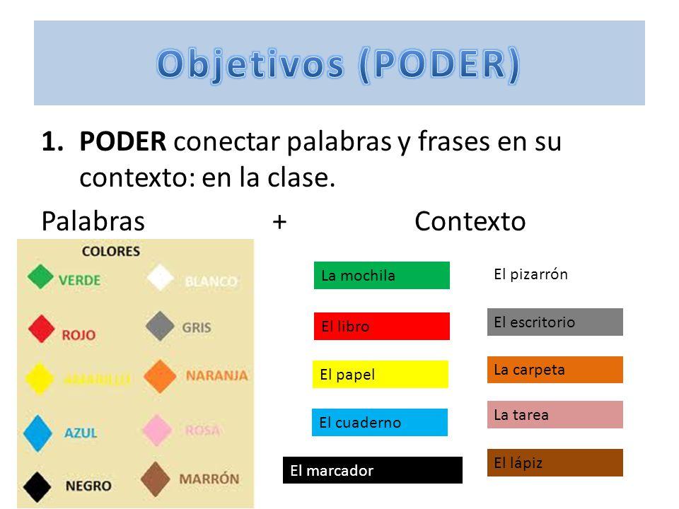 Objetivos (PODER) PODER conectar palabras y frases en su contexto: en la clase. Palabras + Contexto.