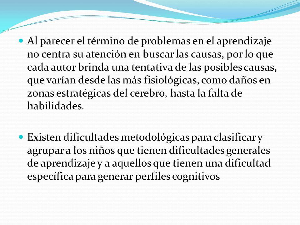 Al parecer el término de problemas en el aprendizaje no centra su atención en buscar las causas, por lo que cada autor brinda una tentativa de las posibles causas, que varían desde las más fisiológicas, como daños en zonas estratégicas del cerebro, hasta la falta de habilidades.