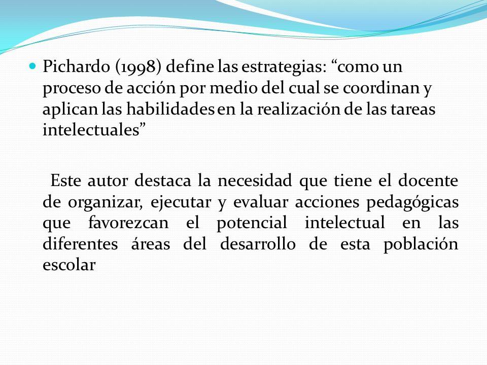 Pichardo (1998) define las estrategias: como un proceso de acción por medio del cual se coordinan y aplican las habilidades en la realización de las tareas intelectuales