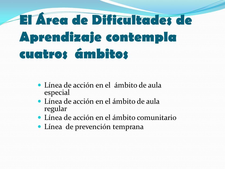 El Área de Dificultades de Aprendizaje contempla cuatros ámbitos