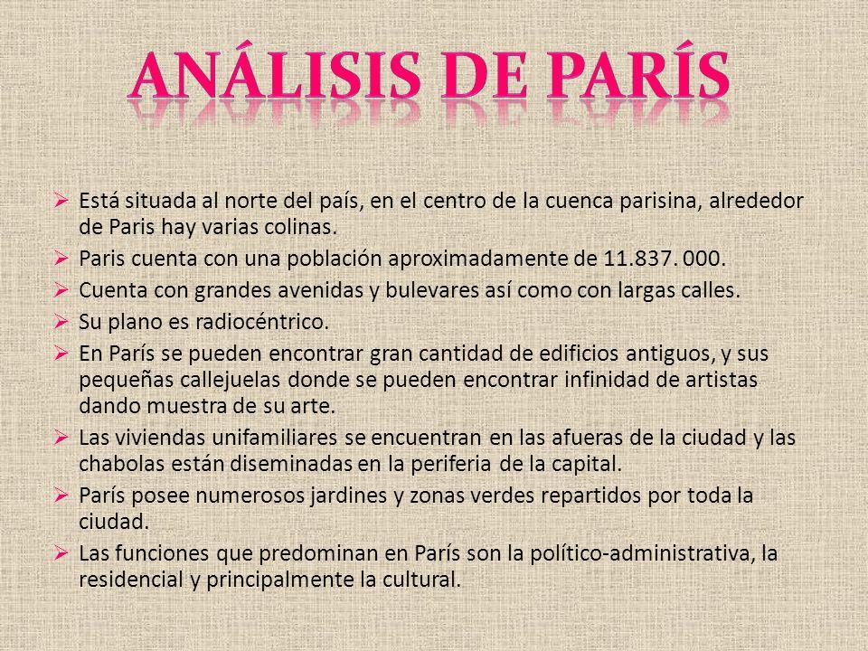 Análisis de parís Está situada al norte del país, en el centro de la cuenca parisina, alrededor de Paris hay varias colinas.
