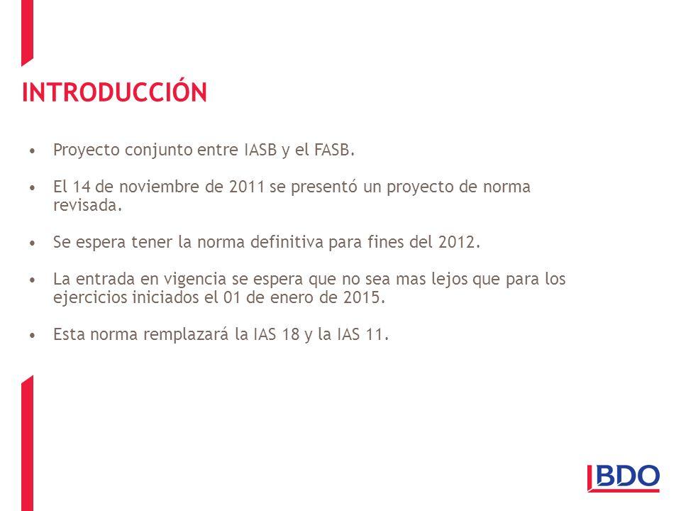 INTRODUCCIÓN Proyecto conjunto entre IASB y el FASB.