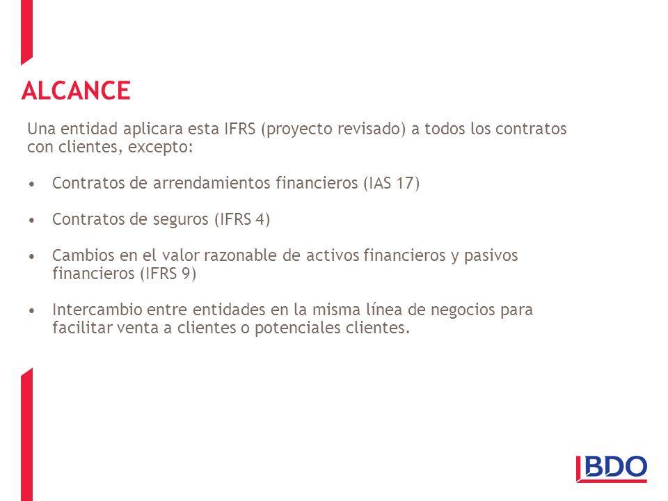ALCANCE Una entidad aplicara esta IFRS (proyecto revisado) a todos los contratos con clientes, excepto: