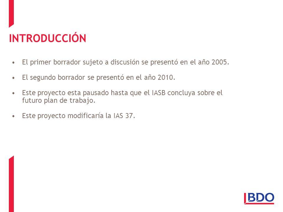 INTRODUCCIÓN El primer borrador sujeto a discusión se presentó en el año 2005. El segundo borrador se presentó en el año 2010.
