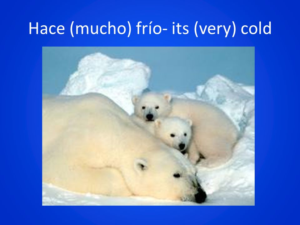 Hace (mucho) frío- its (very) cold