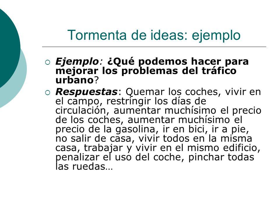 Tormenta de ideas: ejemplo