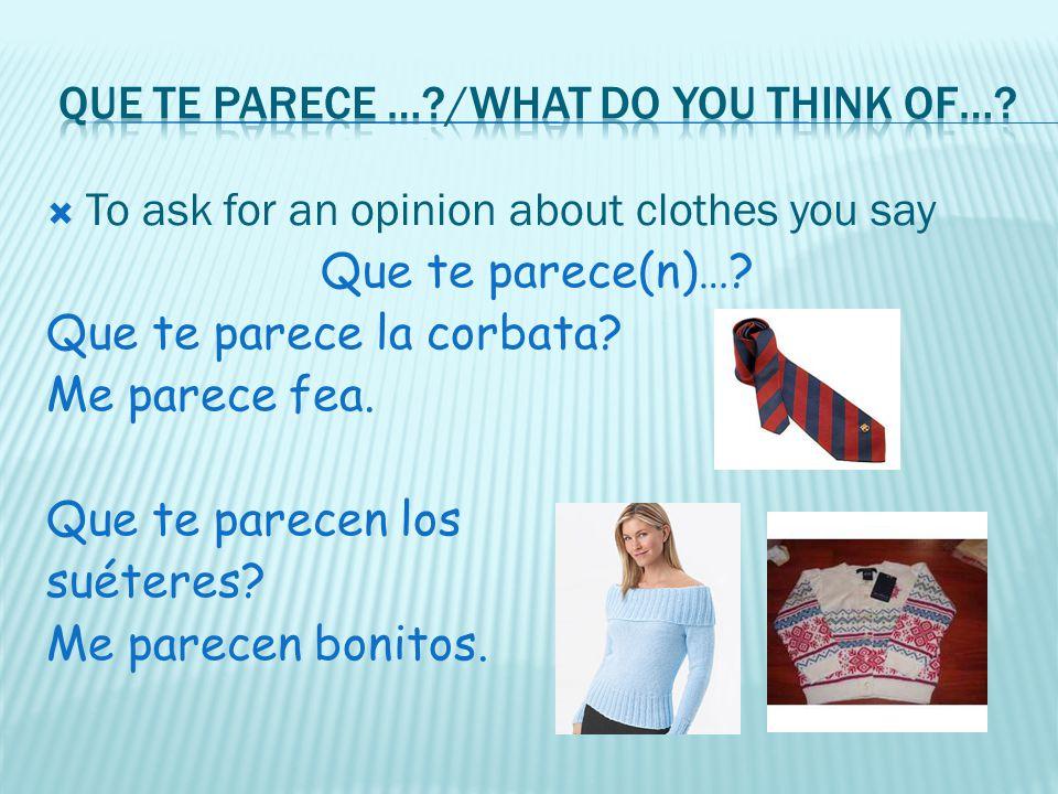 Que te parece … /What do you think of…