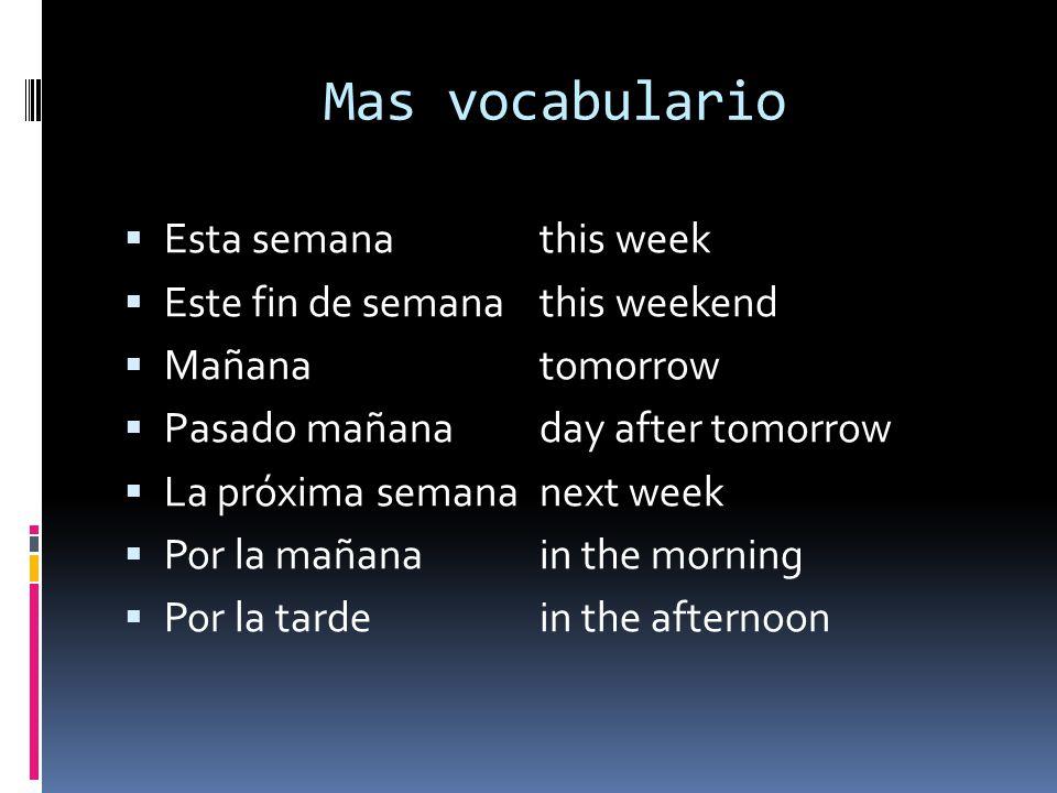 Mas vocabulario Esta semana this week Este fin de semana this weekend