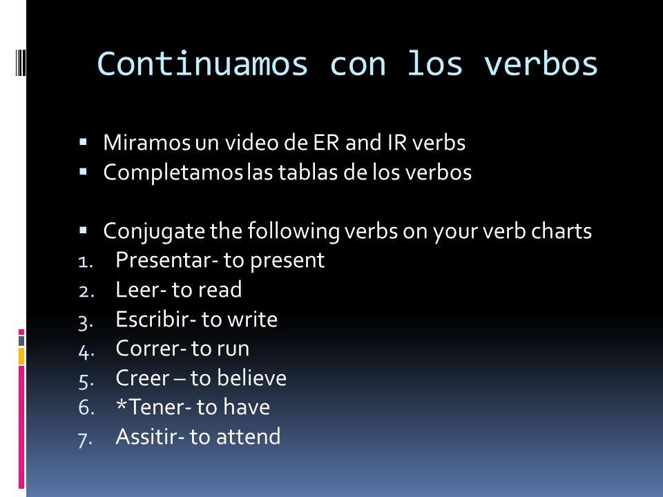 Continuamos con los verbos