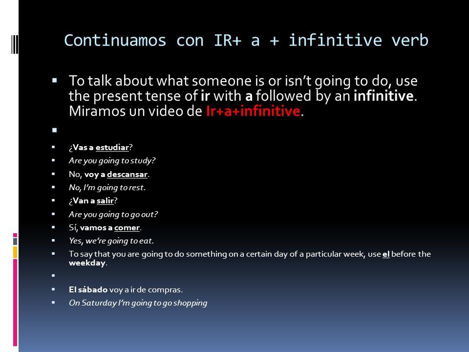 Continuamos con IR+ a + infinitive verb