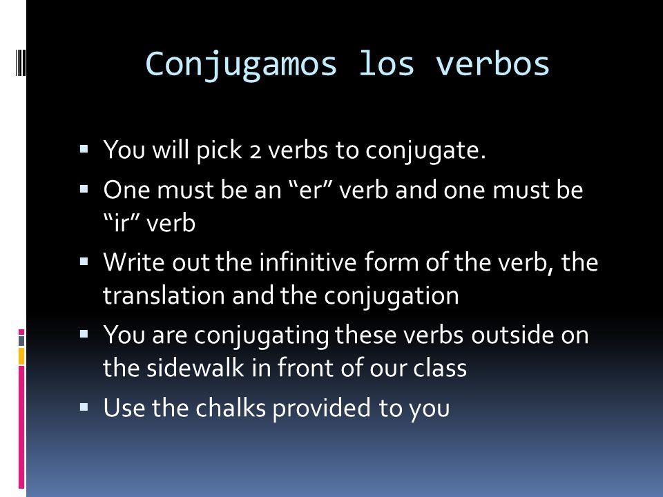 Conjugamos los verbos You will pick 2 verbs to conjugate.