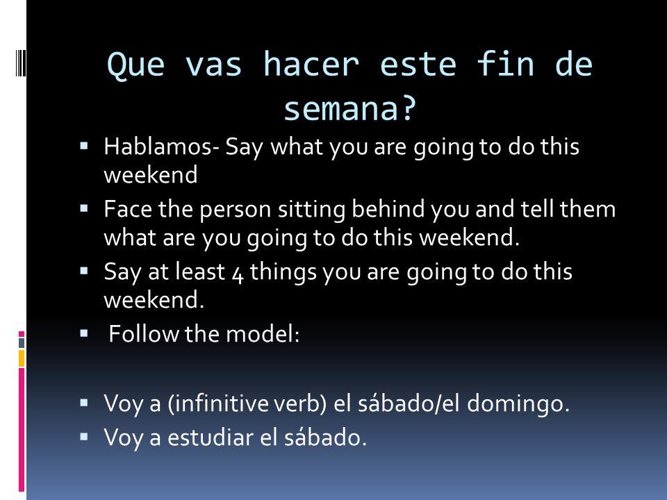 Que vas hacer este fin de semana