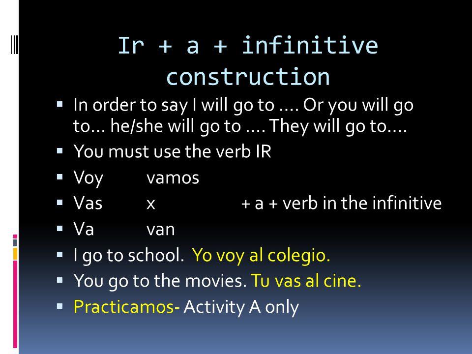 Ir + a + infinitive construction