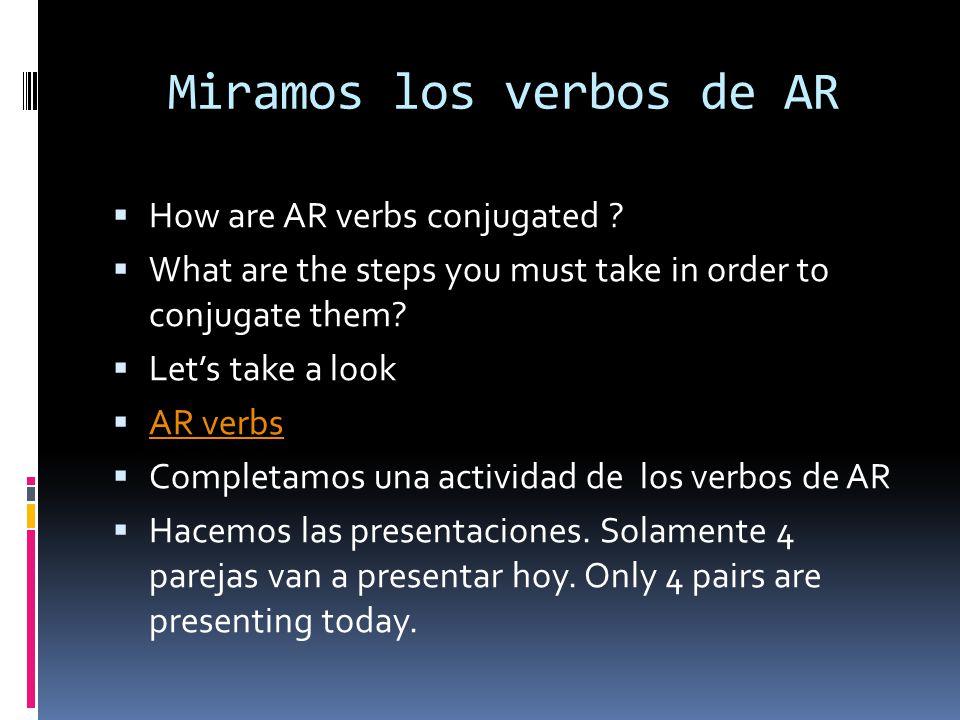 Miramos los verbos de AR