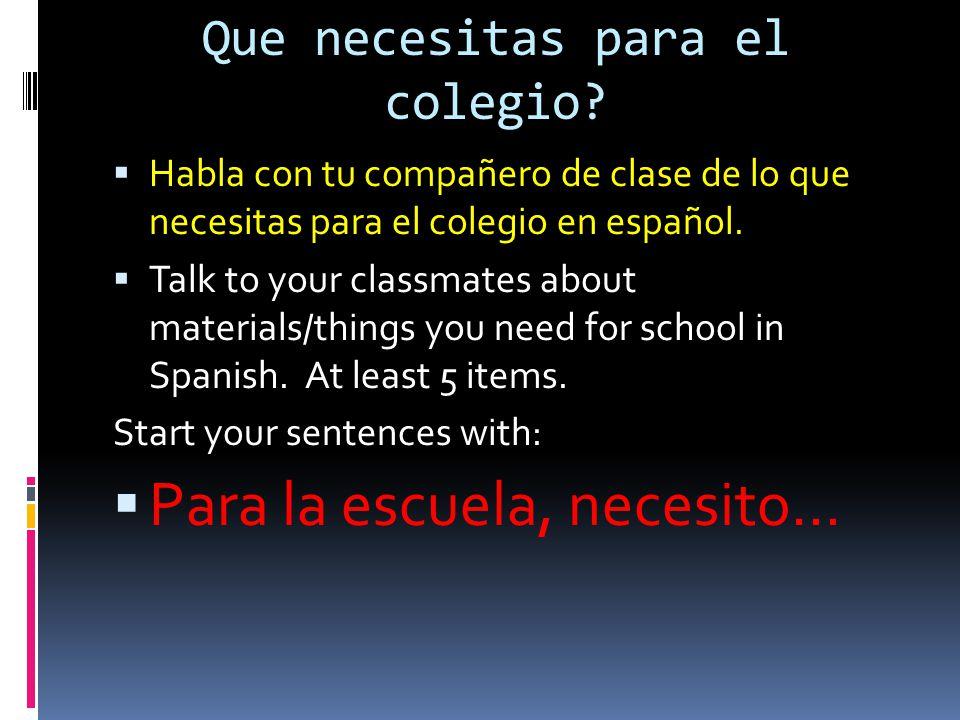 Que necesitas para el colegio