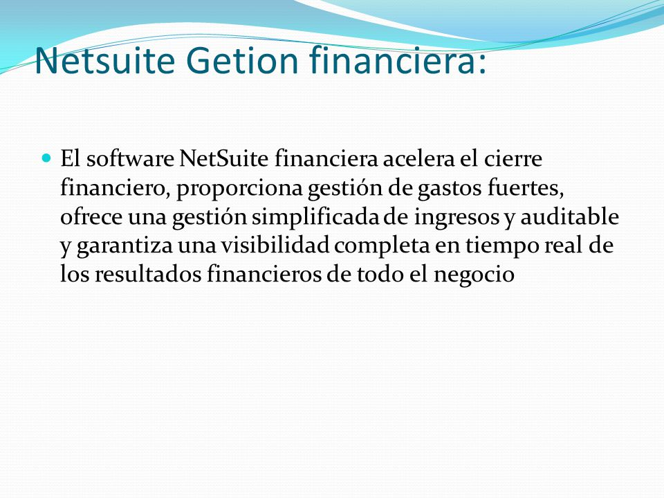 Netsuite Getion financiera:
