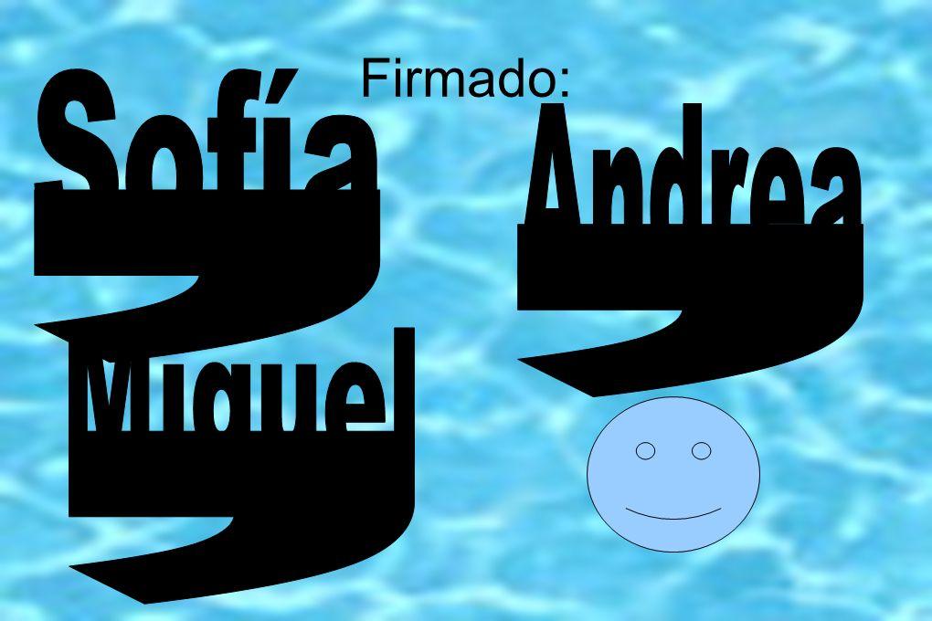 Firmado: Sofía Andrea , , Miguel ,
