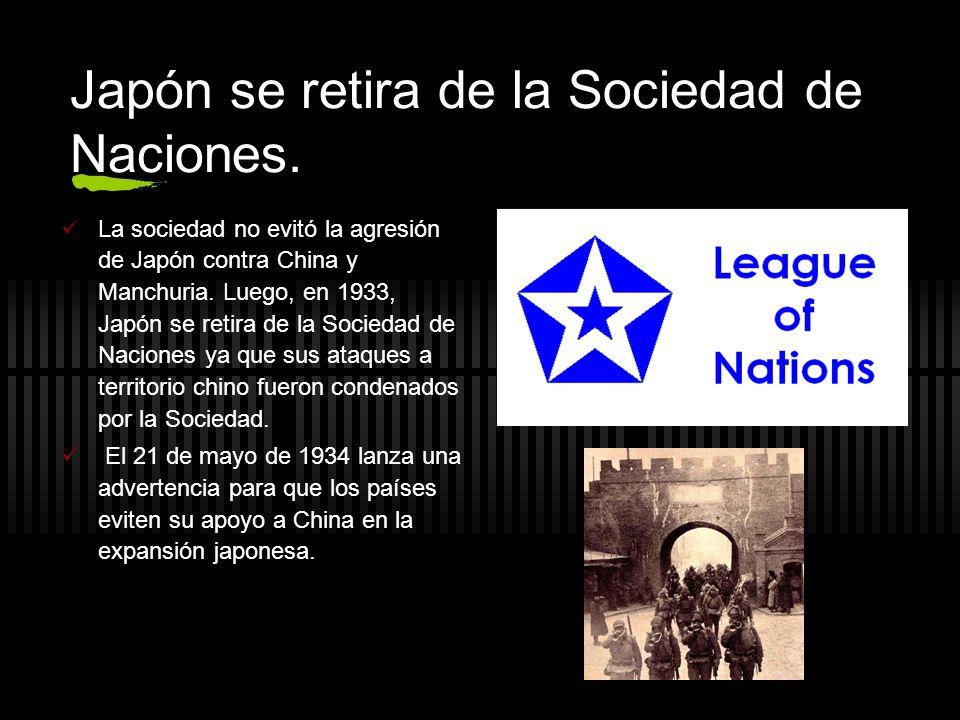 Japón se retira de la Sociedad de Naciones.