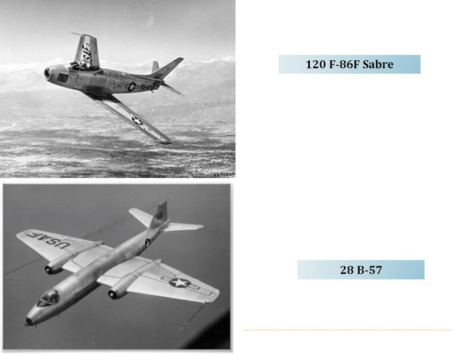 120 F-86F Sabre 28 B-57