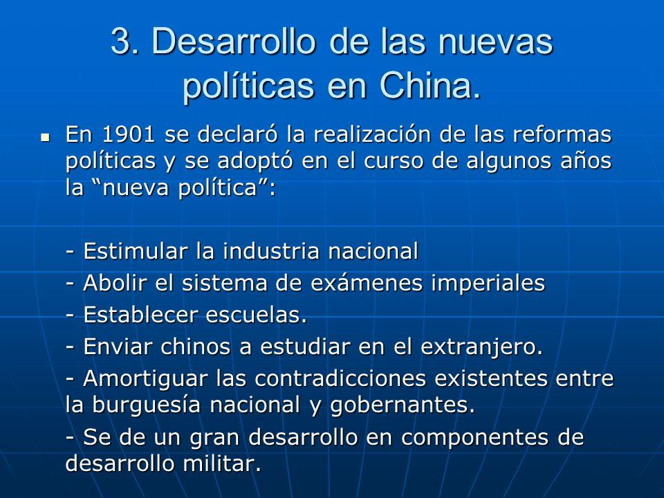 3. Desarrollo de las nuevas políticas en China.