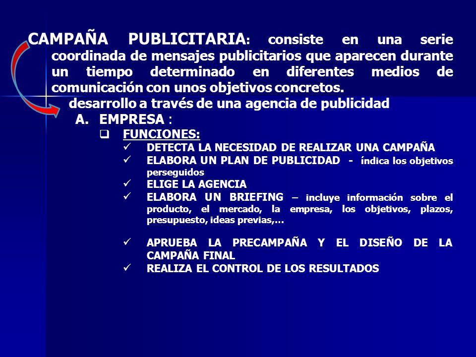 CAMPAÑA PUBLICITARIA: consiste en una serie coordinada de mensajes publicitarios que aparecen durante un tiempo determinado en diferentes medios de comunicación con unos objetivos concretos.