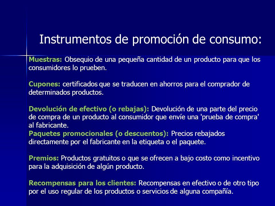 Instrumentos de promoción de consumo: