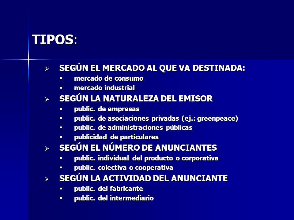 TIPOS: SEGÚN EL MERCADO AL QUE VA DESTINADA:
