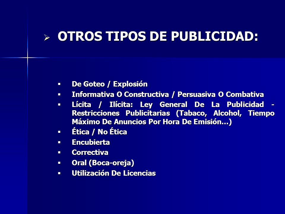 OTROS TIPOS DE PUBLICIDAD: