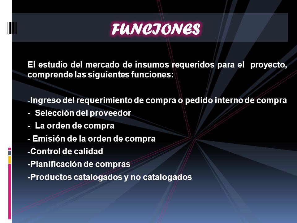 FUNCIONES El estudio del mercado de insumos requeridos para el proyecto, comprende las siguientes funciones: