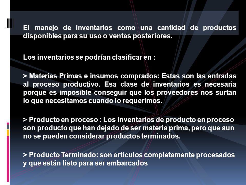 El manejo de inventarios como una cantidad de productos disponibles para su uso o ventas posteriores.