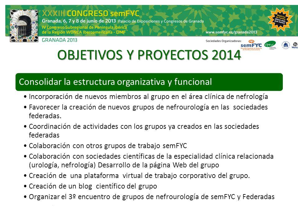 OBJETIVOS Y PROYECTOS 2014 Consolidar la estructura organizativa y funcional.