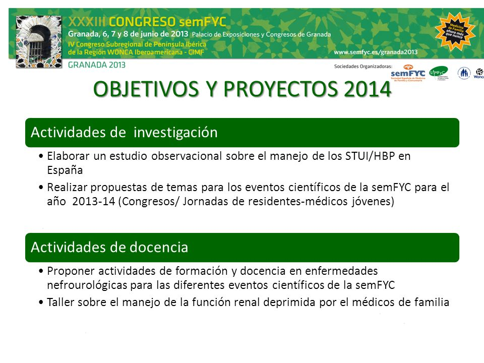 OBJETIVOS Y PROYECTOS 2014 Actividades de investigación