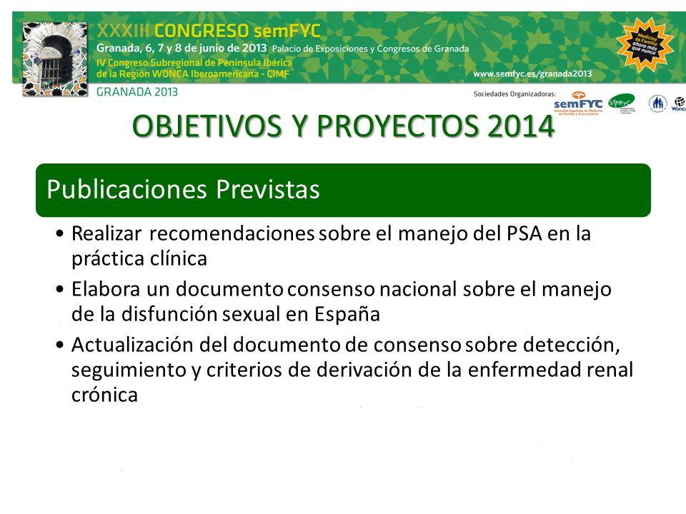 OBJETIVOS Y PROYECTOS 2014 Publicaciones Previstas