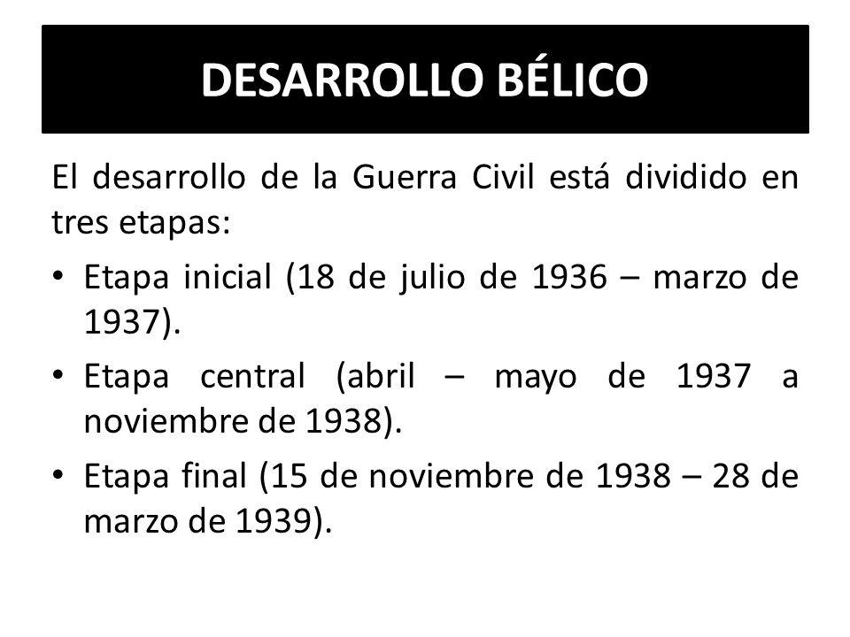 DESARROLLO BÉLICO El desarrollo de la Guerra Civil está dividido en tres etapas: Etapa inicial (18 de julio de 1936 – marzo de 1937).