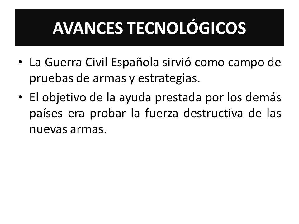 AVANCES TECNOLÓGICOSLa Guerra Civil Española sirvió como campo de pruebas de armas y estrategias.