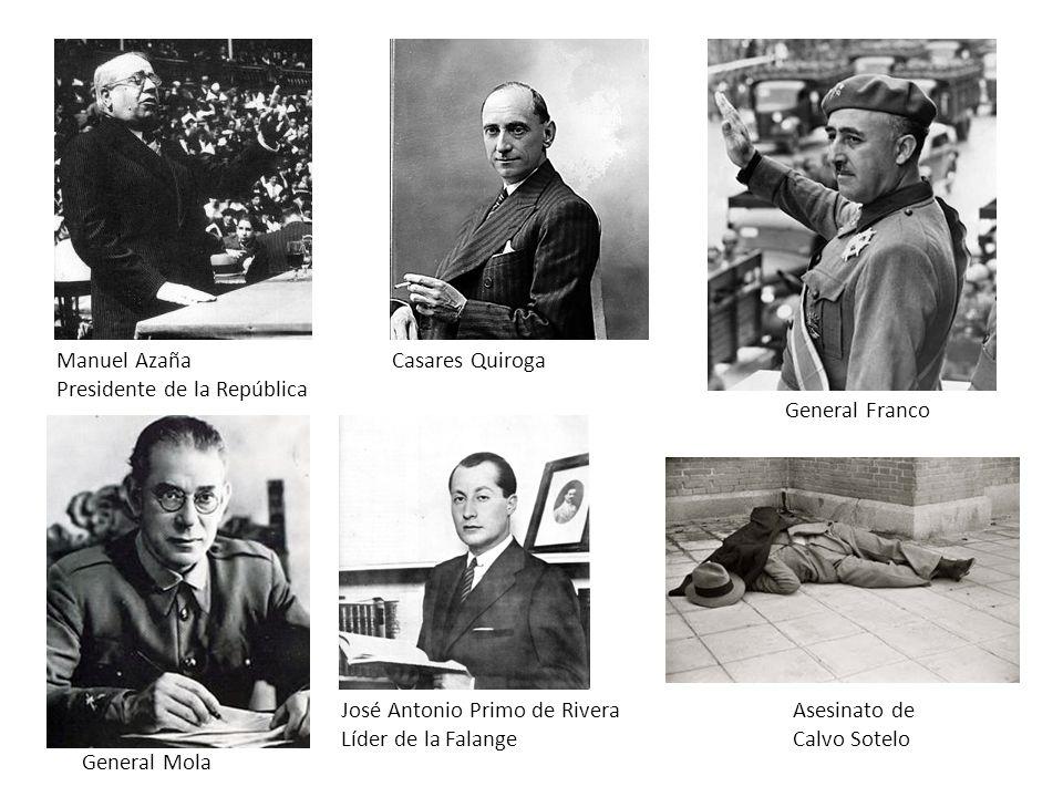 Manuel Azaña Presidente de la República. Casares Quiroga. General Franco. José Antonio Primo de Rivera.