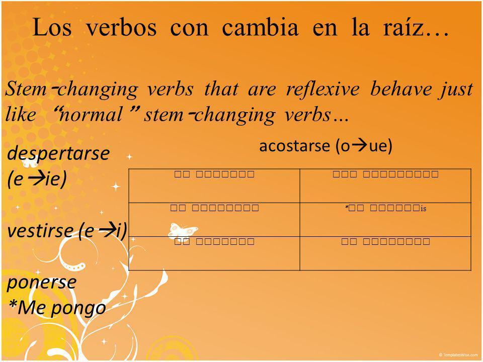 Los verbos con cambia en la raíz…