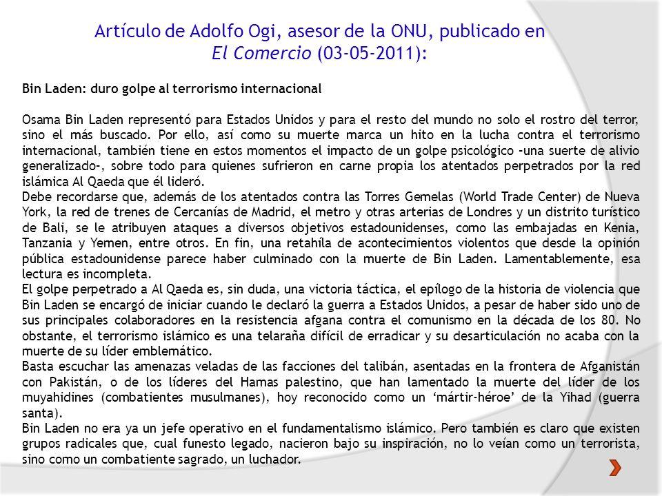 Artículo de Adolfo Ogi, asesor de la ONU, publicado en