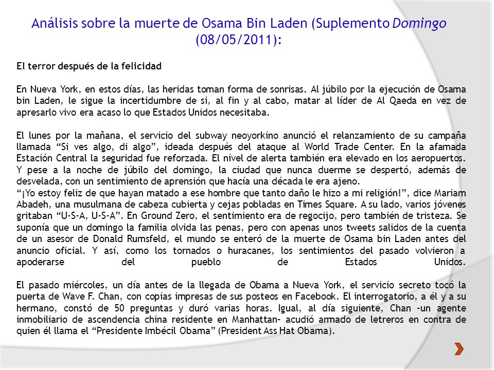 Análisis sobre la muerte de Osama Bin Laden (Suplemento Domingo (08/05/2011):