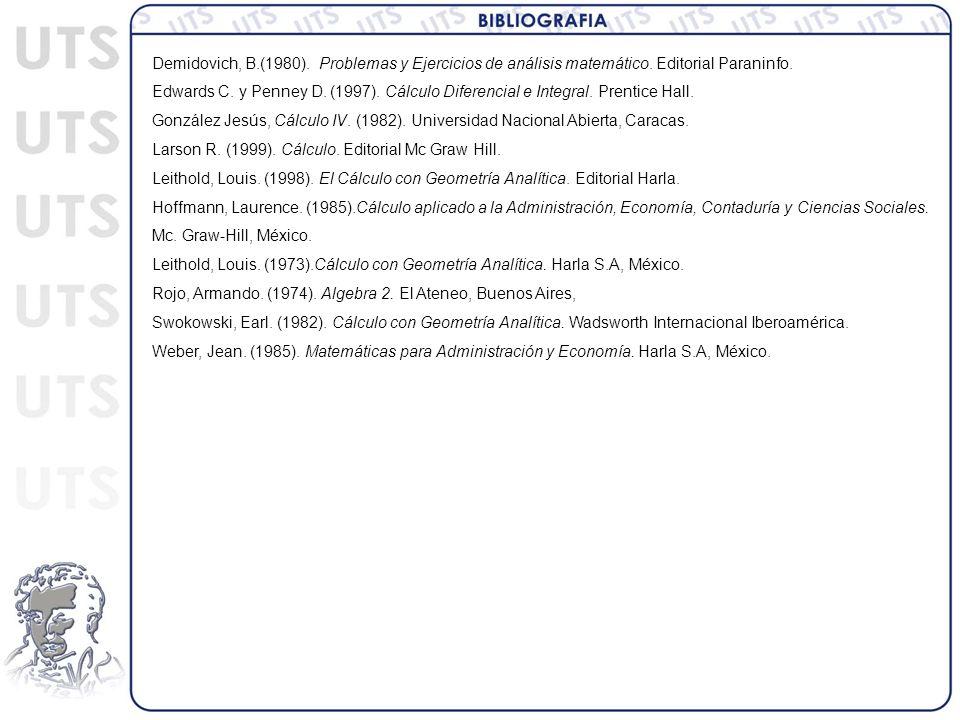 Demidovich, B. (1980). Problemas y Ejercicios de análisis matemático