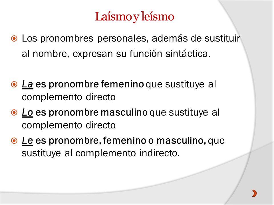 Laísmo y leísmo Los pronombres personales, además de sustituir