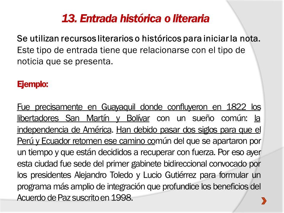 13. Entrada histórica o literaria