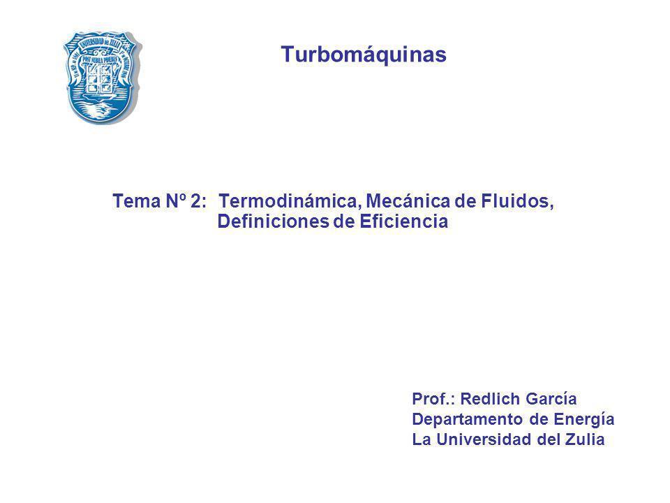 Turbomáquinas Tema Nº 2: Termodinámica, Mecánica de Fluidos, Definiciones de Eficiencia. Prof.: Redlich García.