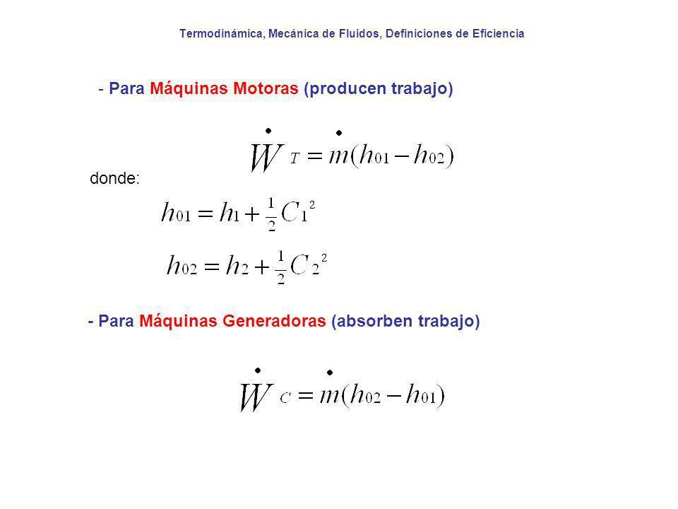 Termodinámica, Mecánica de Fluidos, Definiciones de Eficiencia