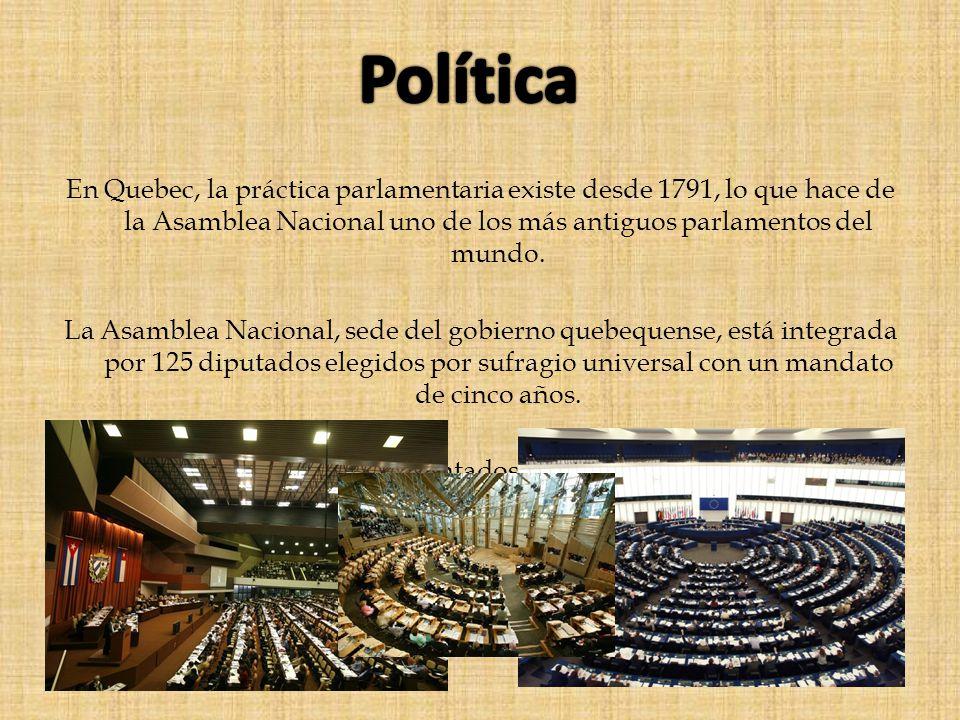 Política En Quebec, la práctica parlamentaria existe desde 1791, lo que hace de la Asamblea Nacional uno de los más antiguos parlamentos del mundo.