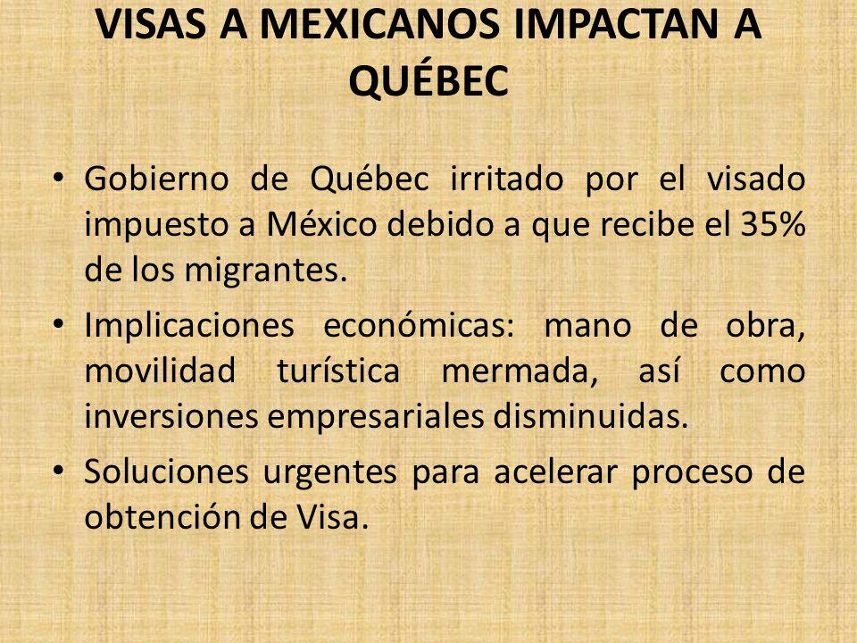 VISAS A MEXICANOS IMPACTAN A QUÉBEC