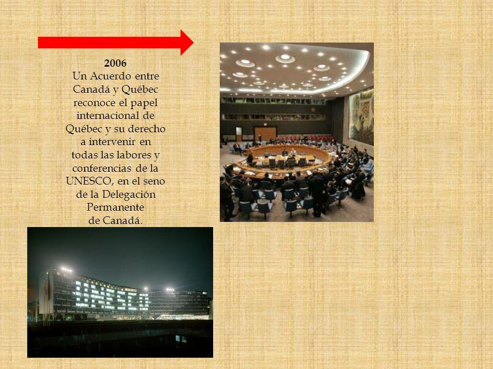 2006 Un Acuerdo entre. Canadá y Québec. reconoce el papel. internacional de. Québec y su derecho.