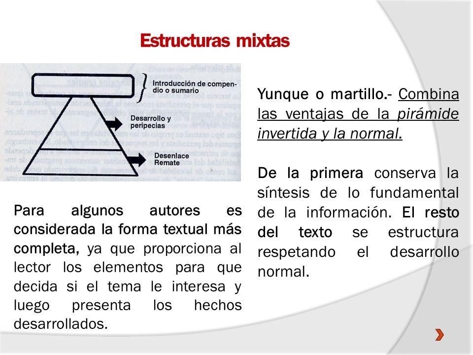 Estructuras mixtas Yunque o martillo.- Combina las ventajas de la pirámide invertida y la normal.
